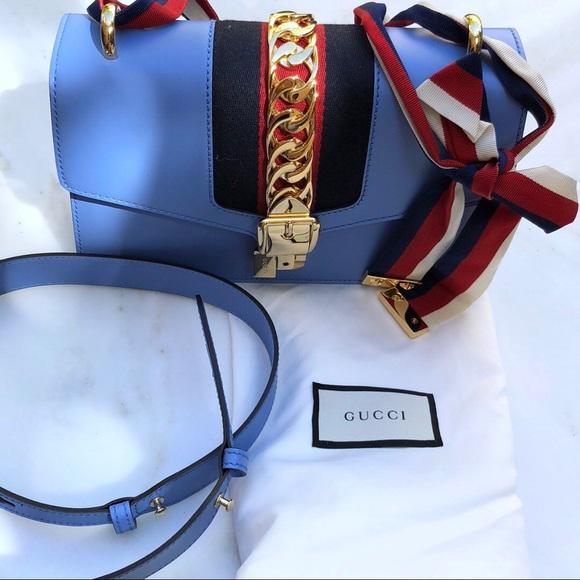 b73522b36dd Gucci Handbags - Authentic Gucci Sylvie Bag Blue Like New